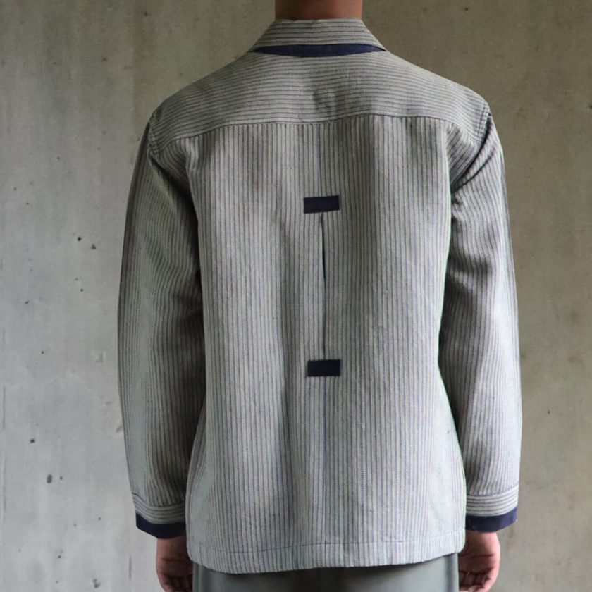 Handwoven Jacket with leather details