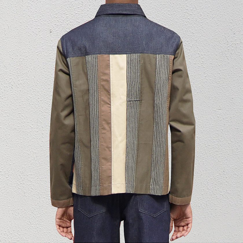 Patch stripe Jacket upcycled from woven and cotton drill fabrics